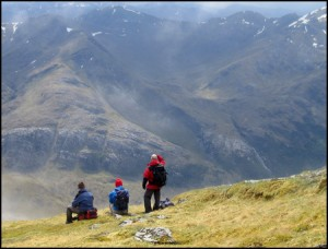 View across Glen Nevis to Mamores