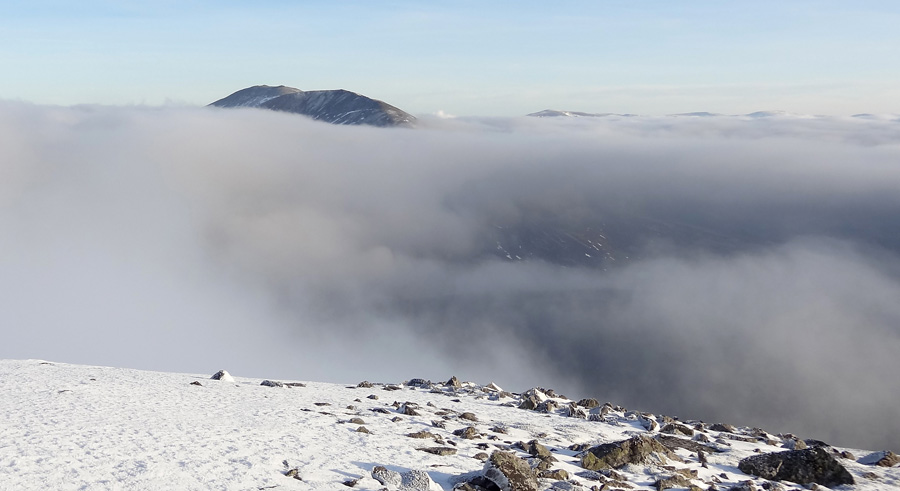 View of Airgiod Bheinn above the cloud from Carn Liath