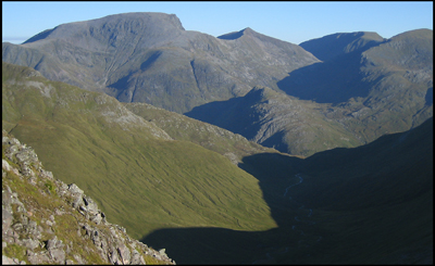 View of Ben Nevis and Carn Mor Dearg as seen from the South