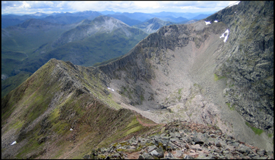 View of arete linking Carn Mor Dearg to Ben Nevis