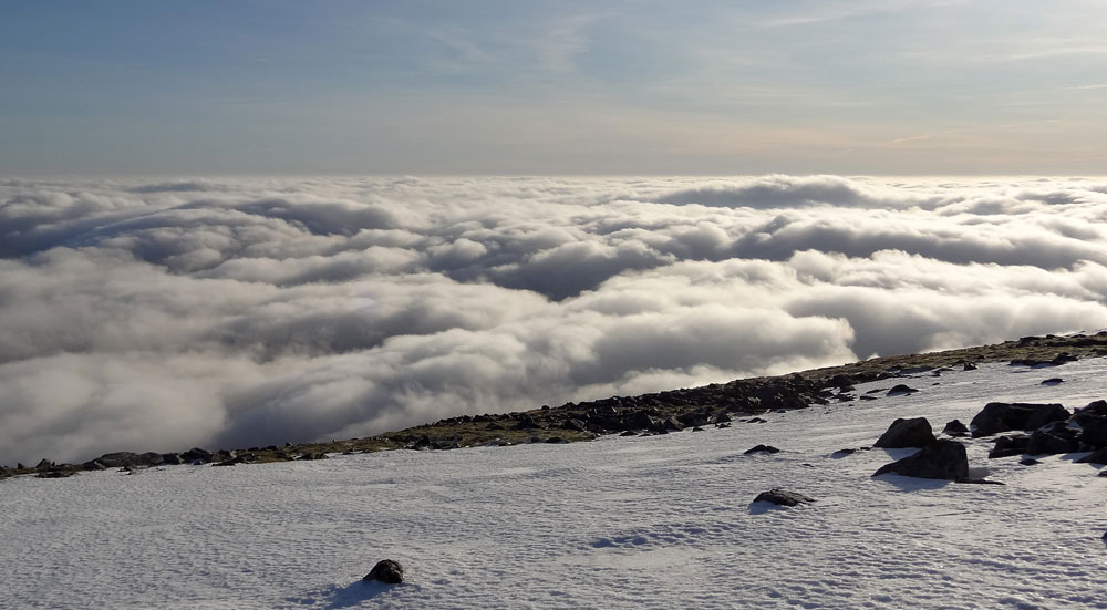 View South East over sea of cloud from summit of Carn nan Gabhar