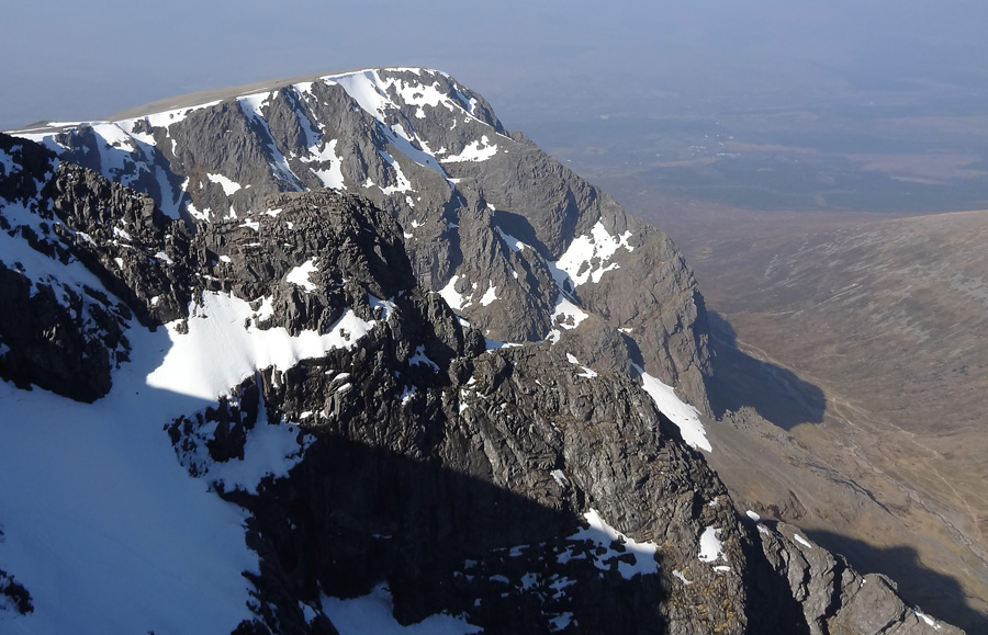 View along cliffs of North Face from summit of Ben Nevis