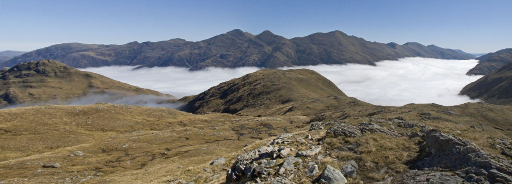 Glen Shiel Full of Mist with Five Sisters beyond