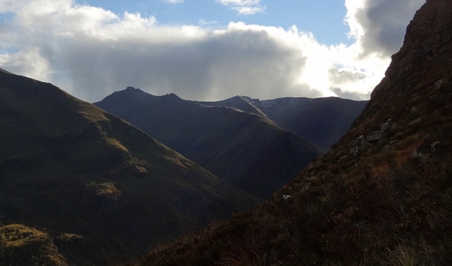View to mamores from Coire Eoghainn