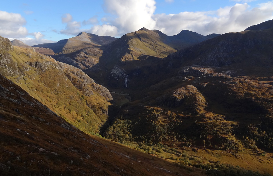 Steall waterfall and Mamores from Coire Eoghainn