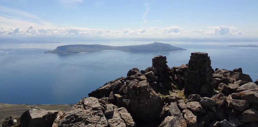 The Isle of Eigg from Askival in the Rum Cuillin