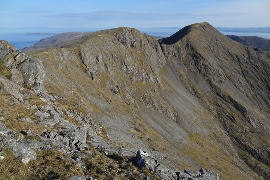 Southern section of Rum Cuillin ridge - Ainshval on right